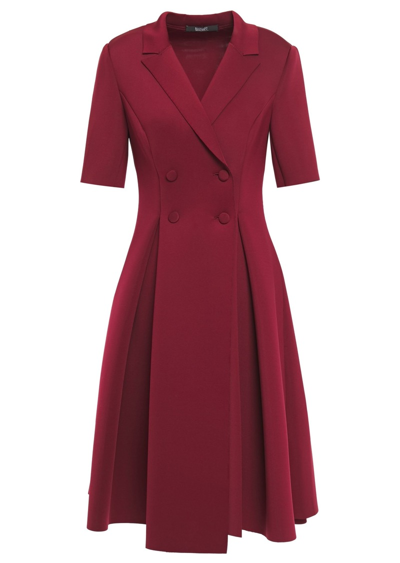Badgley Mischka Woman Double-breasted Pleated Neoprene Dress Burgundy