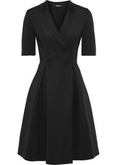 Badgley Mischka Woman Double-breasted Pleated Scuba Dress Black