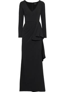 Badgley Mischka Woman Draped Stretch-cady Gown Black