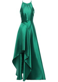 Badgley Mischka Woman Draped Duchesse-satin Gown Emerald