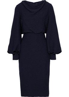 Badgley Mischka Woman Draped Metallic Ribbed Jersey Dress Midnight Blue