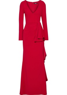 Badgley Mischka Woman Draped Stretch-cady Gown Crimson
