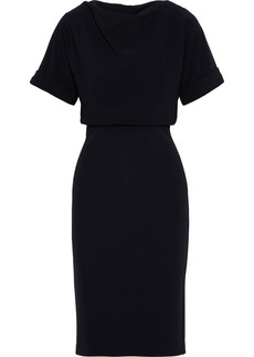 Badgley Mischka Woman Draped Textured-cady Dress Black