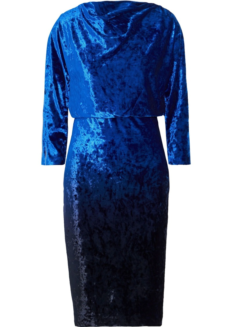 Badgley Mischka Woman Draped Velvet Dress Bright Blue