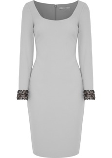 Badgley Mischka Woman Embellished Cady Dress Light Gray