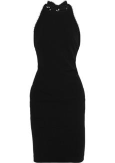 Badgley Mischka Woman Embellished Cady Halterneck Dress Black