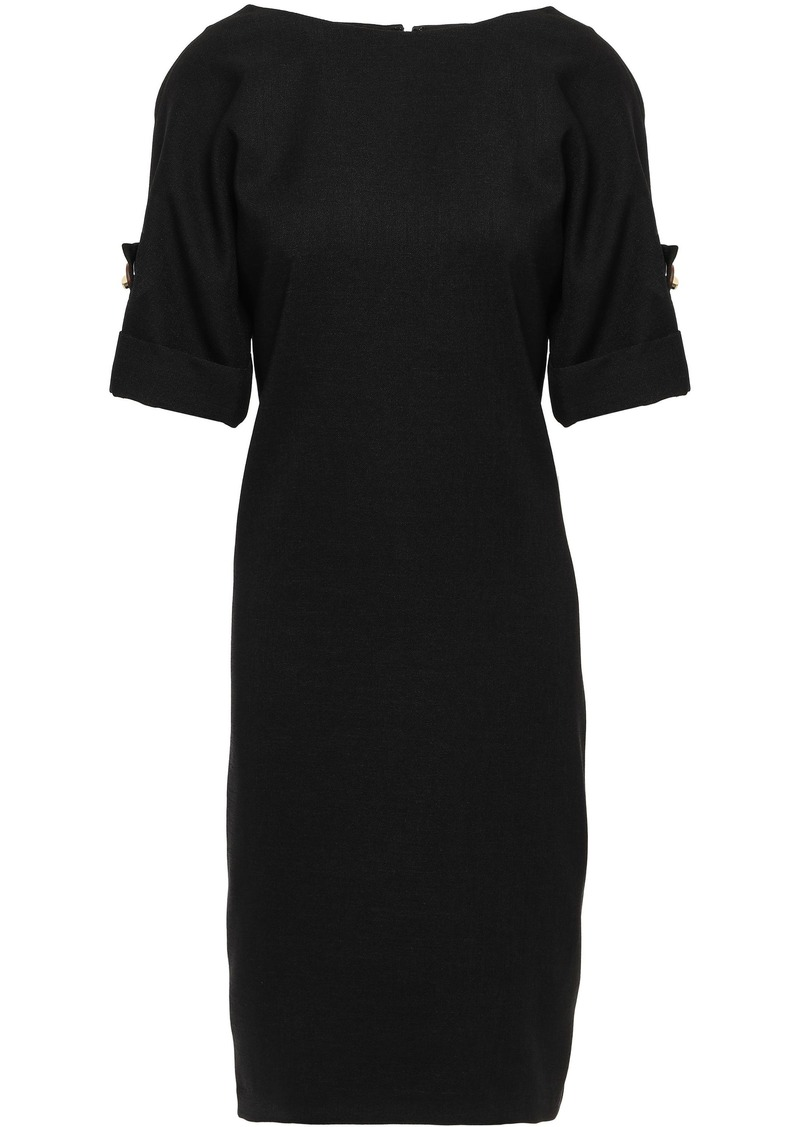 Badgley Mischka Woman Button-detailed Piqué Dress Black