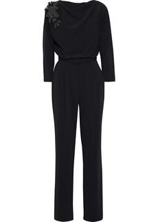 Badgley Mischka Woman Embellished Draped Stretch-crepe Jumpsuit Black