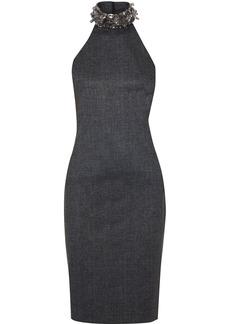 Badgley Mischka Woman Embellished Mélange Stretch-jersey Halterneck Dress Charcoal
