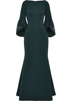 Badgley Mischka Woman Embellished Neoprene Gown Forest Green