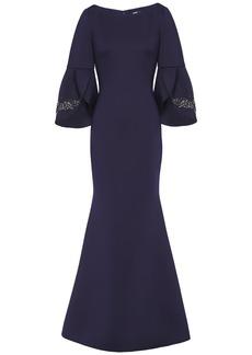 Badgley Mischka Woman Embellished Neoprene Gown Navy