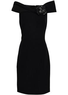 Badgley Mischka Woman Embellished Off-the-shoulder Stretch-crepe Dress Black
