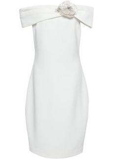 Badgley Mischka Woman Embellished Off-the-shoulder Stretch-crepe Dress White