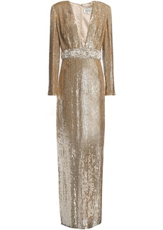 Badgley Mischka Woman Embellished Sequined Tulle Gown Gold