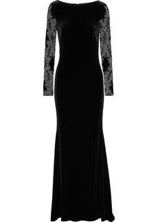 Badgley Mischka Woman Embellished Tulle And Velvet Gown Black