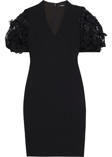 Badgley Mischka Woman Embellished Tulle-paneled Crepe Dress Black