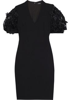 Badgley Mischka Woman Embellished Tulle-paneled Crepe Dress Black