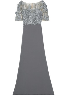 Badgley Mischka Woman Embellished Tulle-paneled Crepe Gown Charcoal