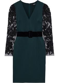 Badgley Mischka Woman Embellished Tulle-paneled Neoprene Dress Emerald