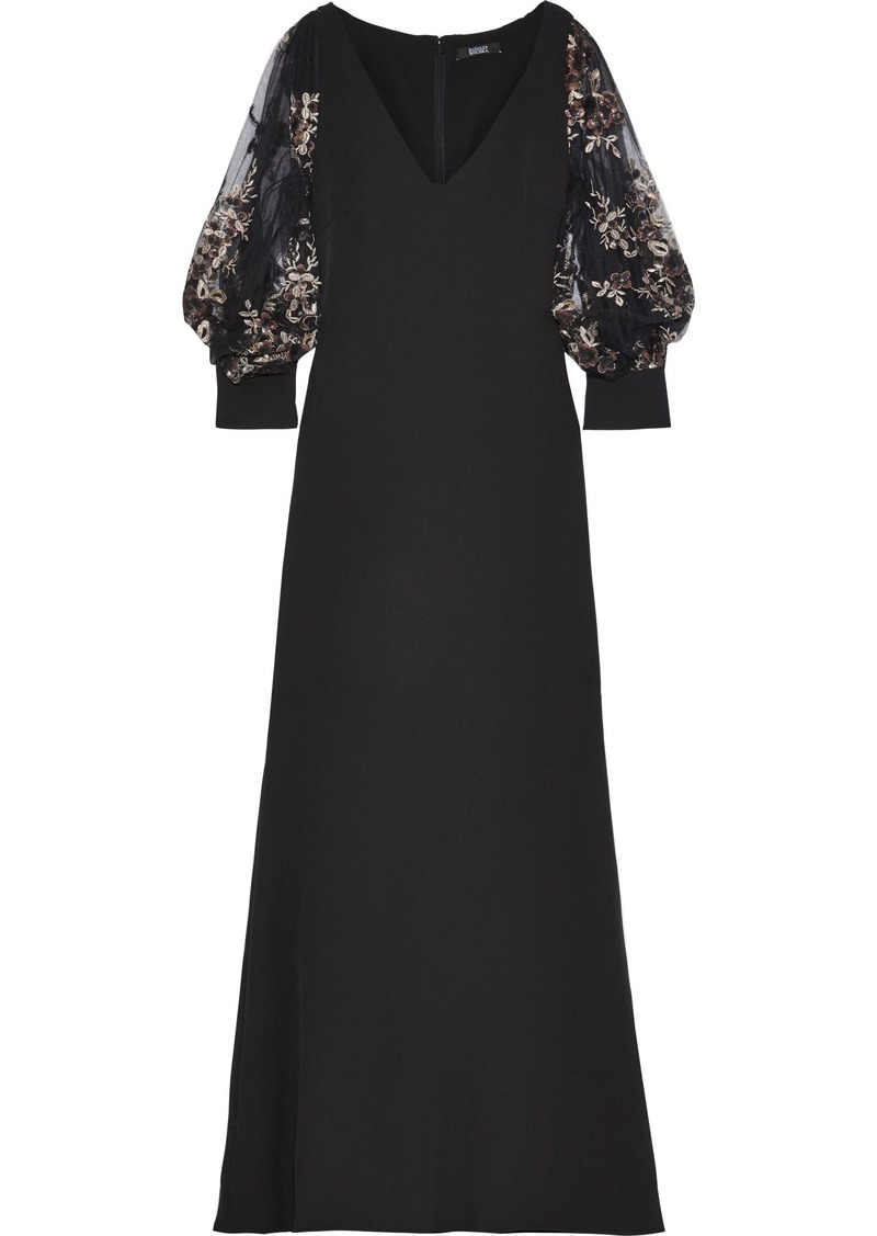 Badgley Mischka Woman Embellished Tulle-paneled Stretch-crepe Gown Black