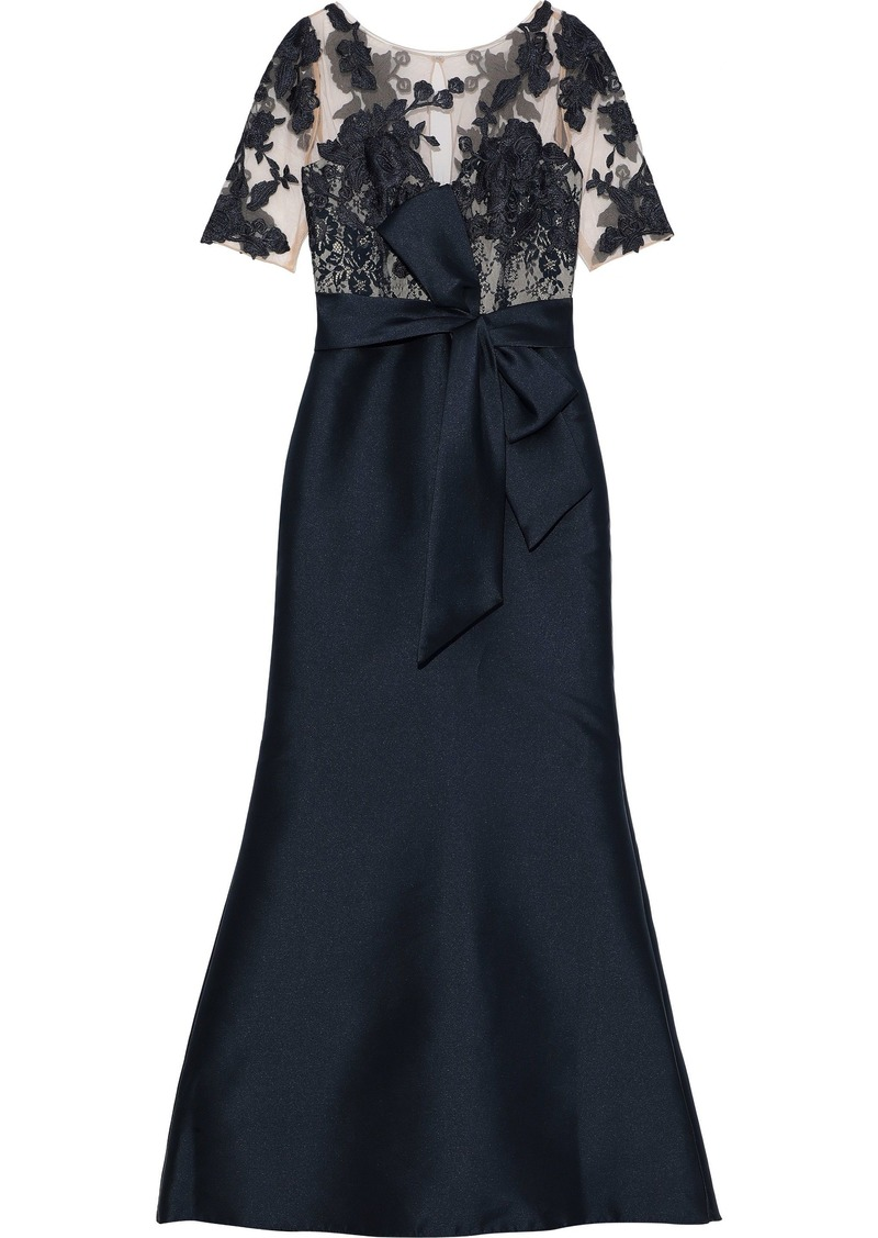Badgley Mischka Woman Embroidered Tulle And Duchesse-satin Gown Navy