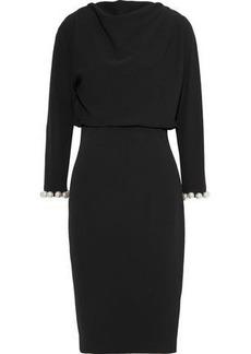 Badgley Mischka Woman Faux Pearl-embellished Cady Dress Black