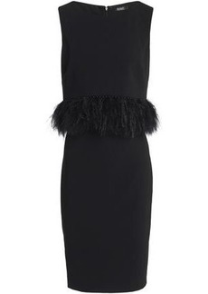 Badgley Mischka Woman Feather And Faux Pearl-embellished Cady Dress Black