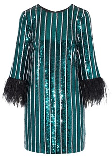 Badgley Mischka Woman Feather-trimmed Sequined Crepe Mini Dress Emerald