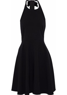 Badgley Mischka Woman Flared Embellished Cady Halterneck Dress Black
