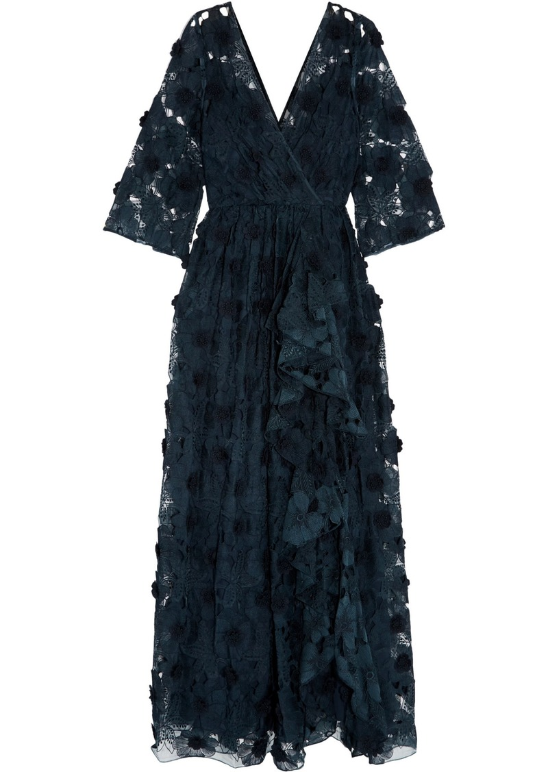 Badgley Mischka Woman Floral-appliquéd Embroidered Tulle Gown Navy