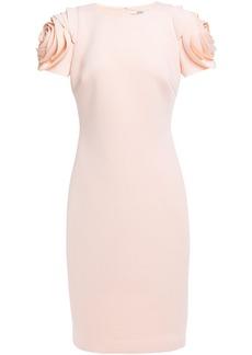 Badgley Mischka Woman Floral-appliquéd Scuba Dress Blush