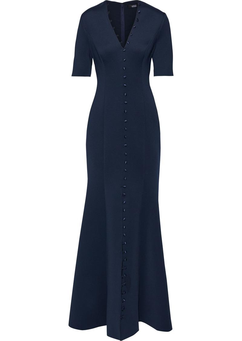 Badgley Mischka Woman Fluted Button-detailed Neoprene Gown Navy