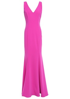Badgley Mischka Woman Fluted Button-detailed Stretch-cady Gown Bright Pink