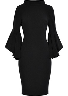 Badgley Mischka Woman Fluted Cady Turtleneck Dress Black