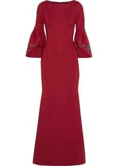 Badgley Mischka Woman Embellished Neoprene Gown Burgundy
