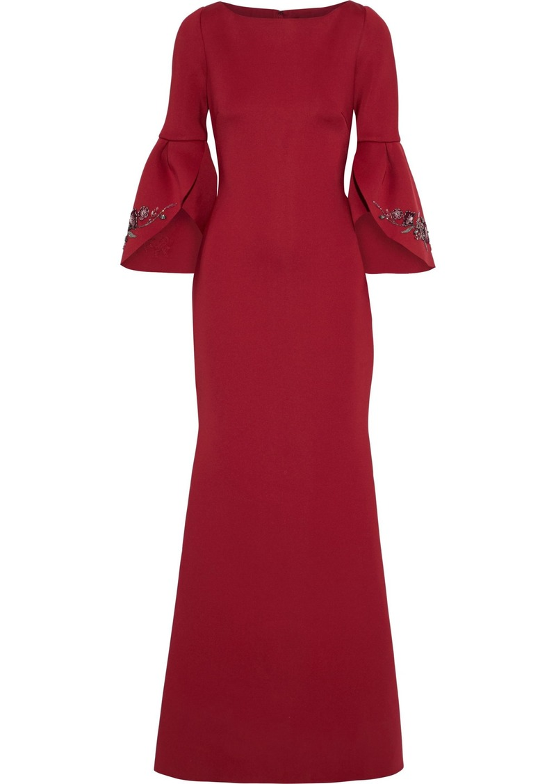 Badgley Mischka Woman Fluted Embellished Scuba Gown Burgundy