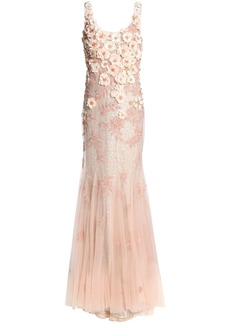 Badgley Mischka Woman Fluted Embellished Tulle Gown Pastel Pink
