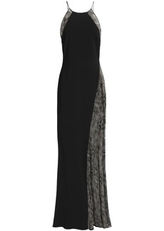 Badgley Mischka Woman Chantilly Lace-paneled Crepe Gown Black