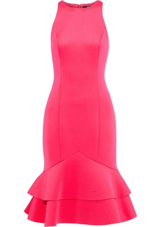 Badgley Mischka Woman Fluted Ruffled Neoprene Dress Bright Pink