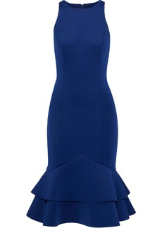 Badgley Mischka Woman Fluted Ruffled Neoprene Dress Royal Blue