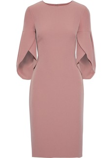 Badgley Mischka Woman Fluted Stretch-crepe Dress Antique Rose