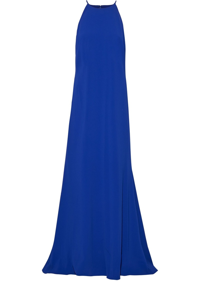 Badgley Mischka Woman Fluted Stretch-crepe Gown Cobalt Blue