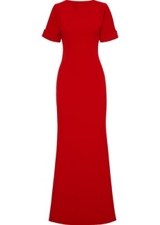 Badgley Mischka Woman Fluted Stretch-crepe Gown Crimson