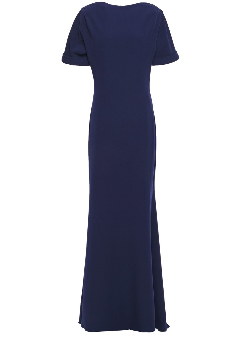 Badgley Mischka Woman Fluted Stretch-crepe Gown Navy