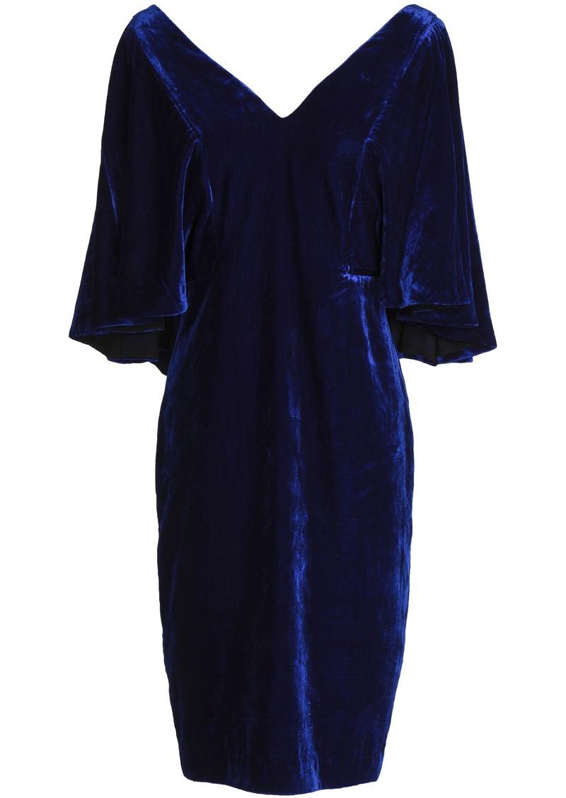 Badgley Mischka Woman Fluted Velvet Dress Royal Blue