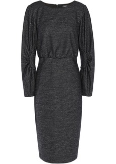 Badgley Mischka Woman Gathered Mélange Tweed Dress Charcoal