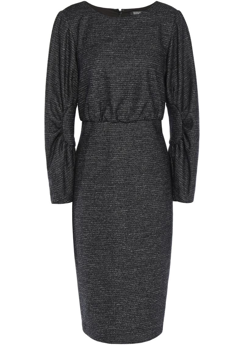 Badgley Mischka Woman Gathered Mélange Tweed Dress Charcoal