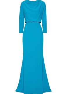 Badgley Mischka Woman Gathered Stretch-crepe Gown Azure