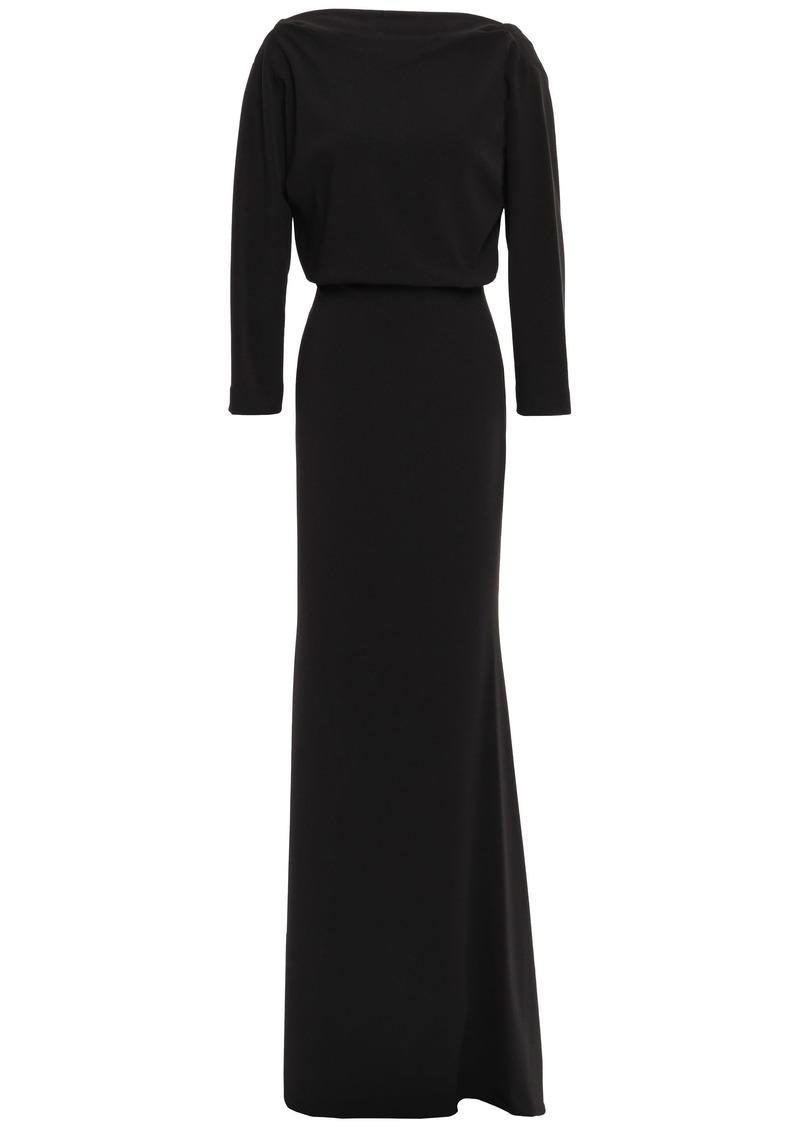 Badgley Mischka Woman Draped Ponte Gown Black