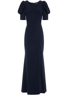 Badgley Mischka Woman Gathered Stretch-crepe Gown Navy
